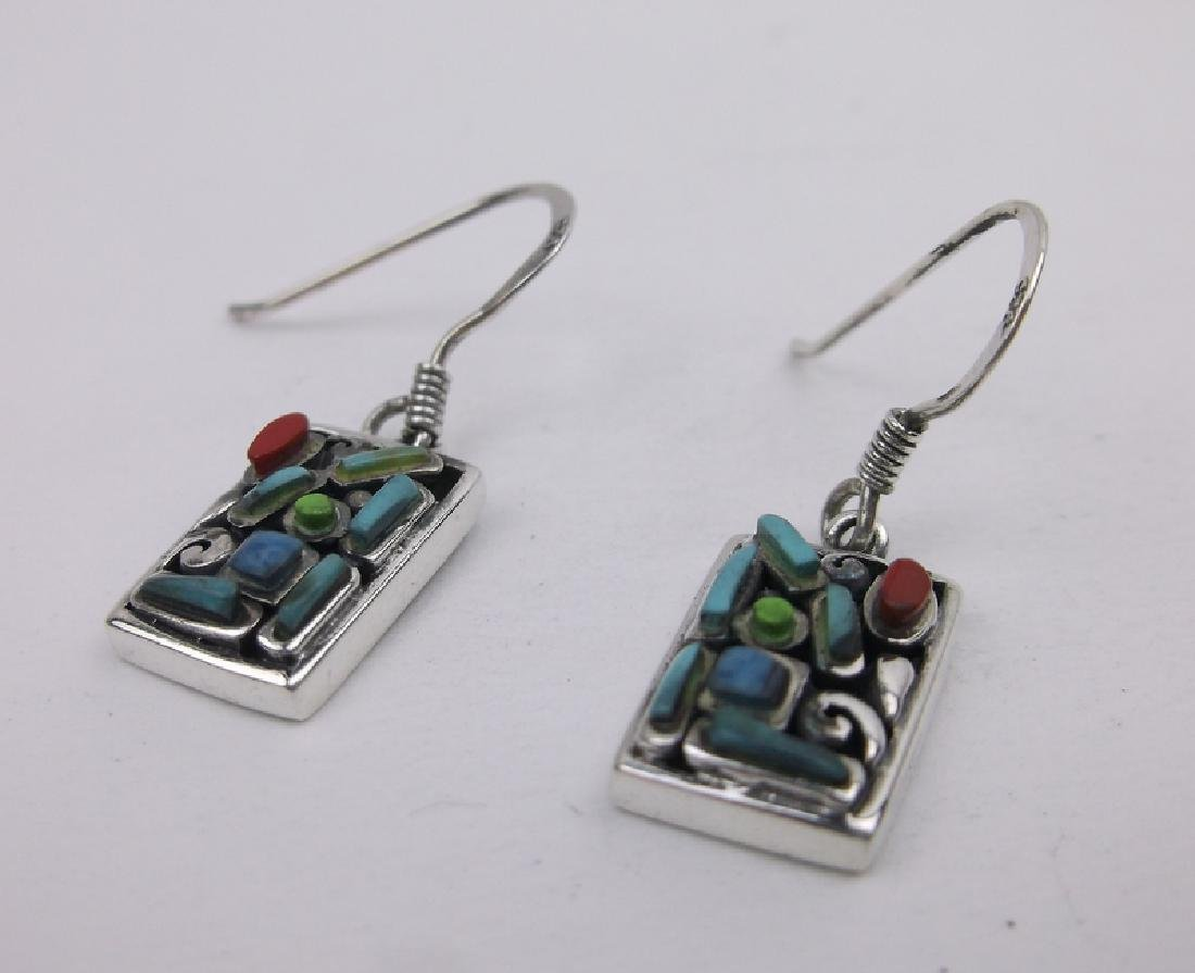 Stunning Sterling Turquoise Red Coral Earrings