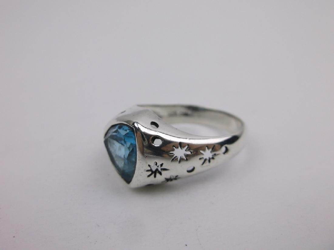 Stunning Sterling Silver Blue Stone Ring 10 - 2