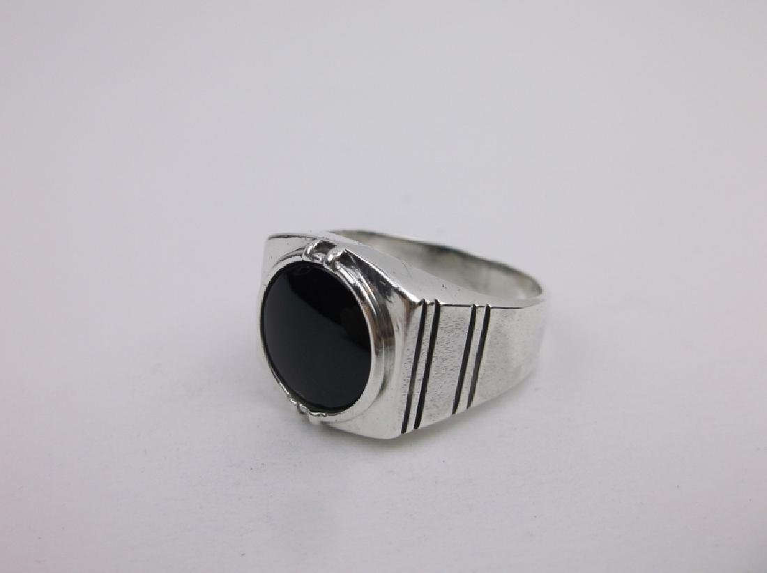 Gorg Vintage Sterling Onyx Mens Ring 10 - 2
