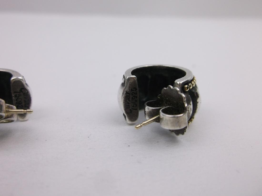 Stunn Heavy Sterling Silver Caviar Earrings - 2