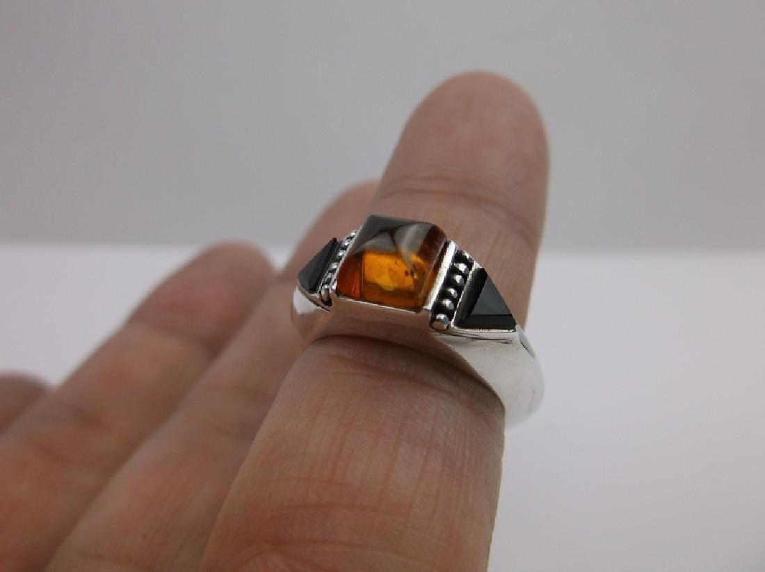 Stunn Sterling Silver Amber Onyx Ring 6 - 2