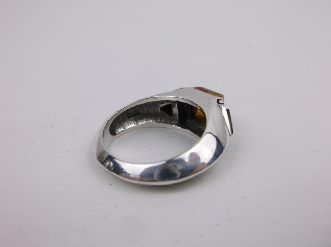 Stunn Sterling Silver Amber Onyx Ring 6 - 3