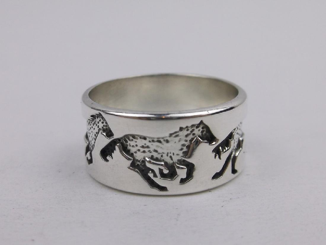 Stunning Kabana Sterling 4 Horse Band Ring 7
