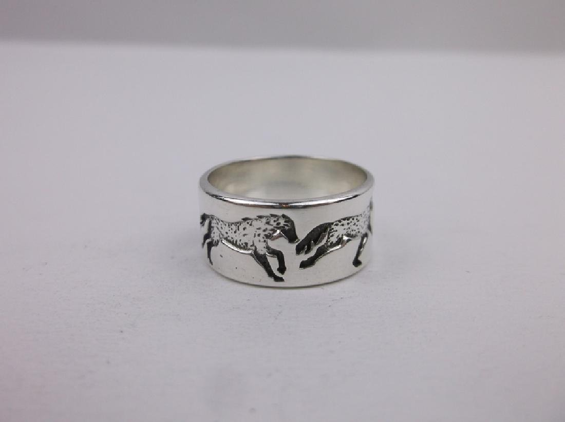 Stunning Kabana Sterling 4 Horse Band Ring 7 - 2
