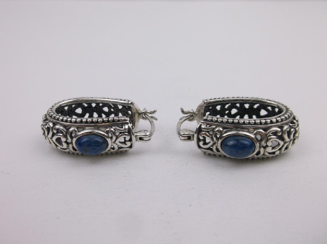 Stunning Large Sterling Silver Lapis Earrings - 2