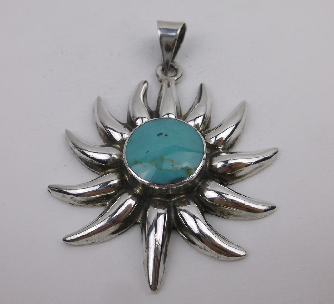 Large Sterling Turquoise Sun Pendant Heavy