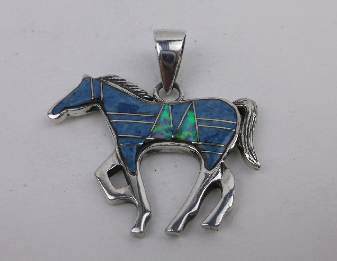 Navajo Sterling Opal Lapis Horse Pendant JN