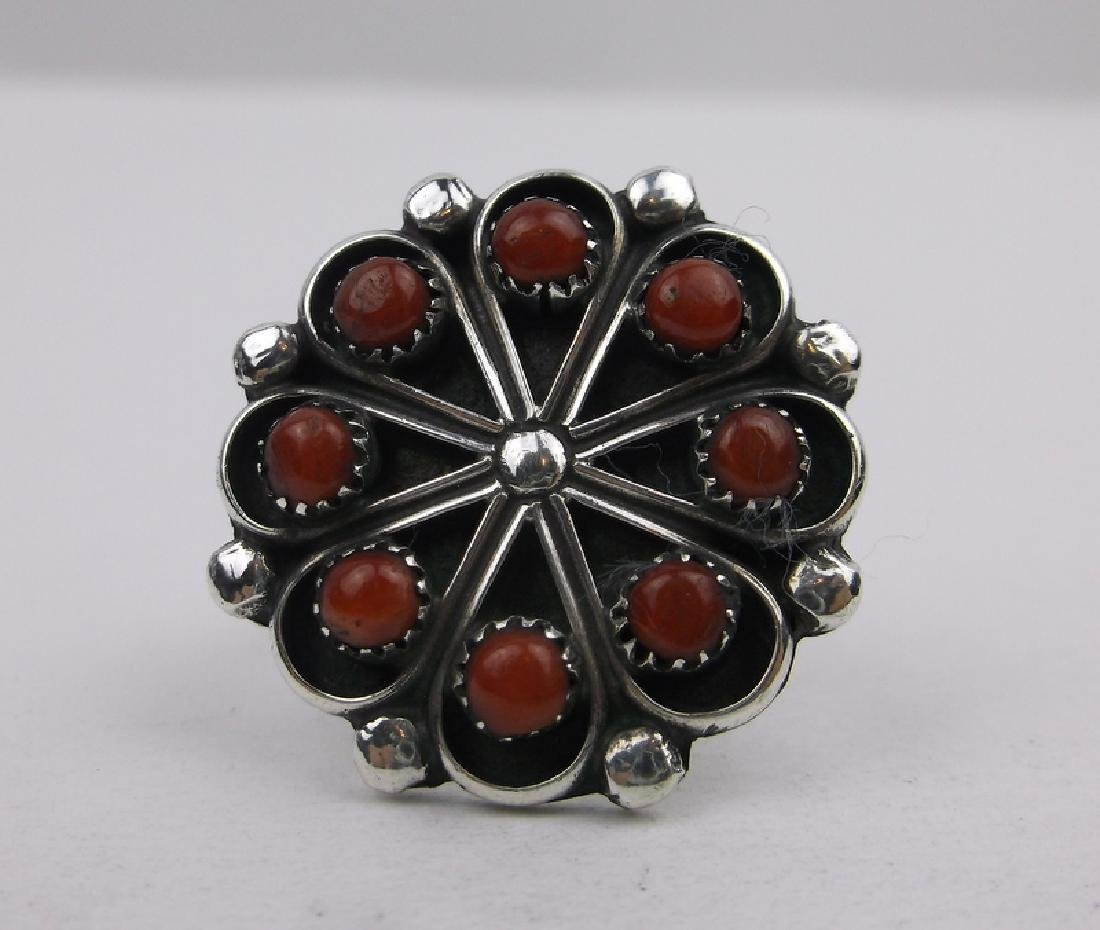 Zuni R Dishta Sterling Red Coral Ring 5.5 Gorgeous