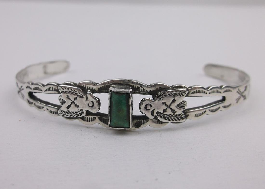 1940s Maisels Sterling Turquoise Cuff Bracelet