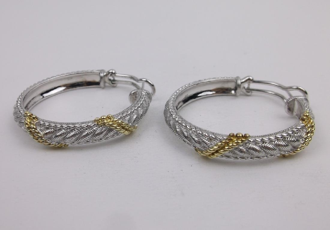 Huge Judith Ripka Sterling Silver Hoop Earrings