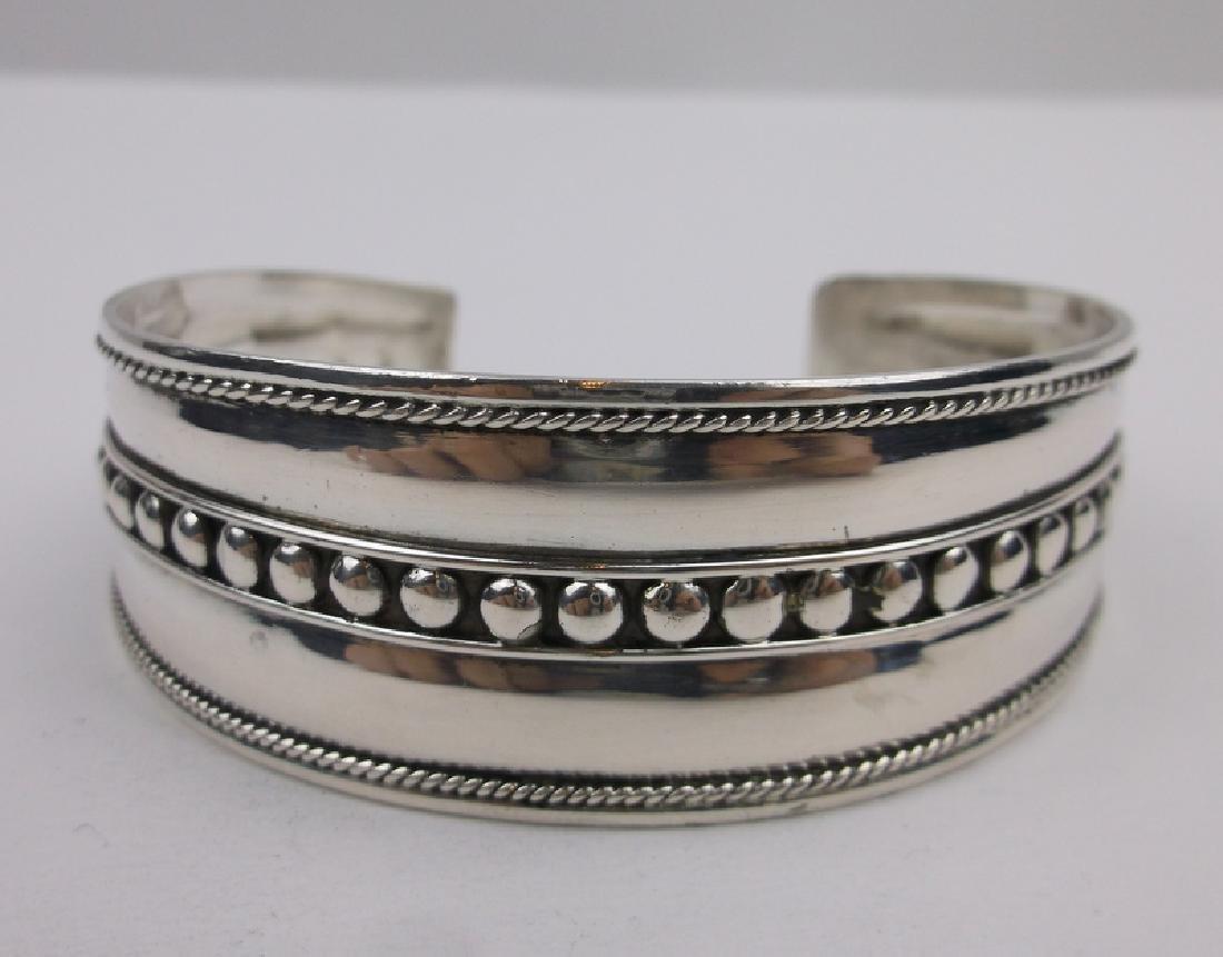 Stunning Sterling Silver Dot Cuff Bracelet Large
