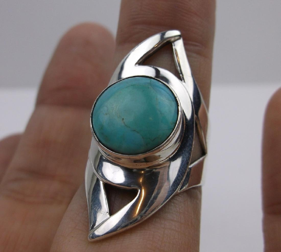 DTR Sterling Silver Turquoise Ring 8 Huge