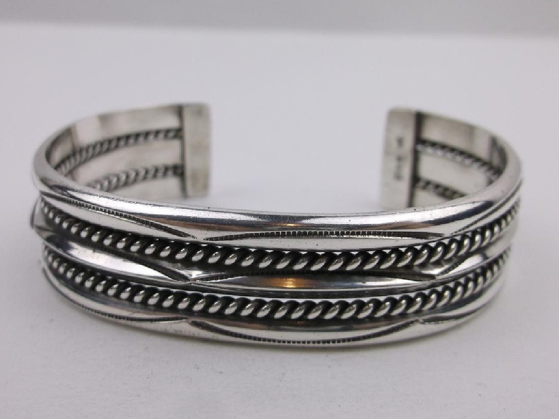 Navajo Sterling Silver Cuff Bracelet Tahe Heavy