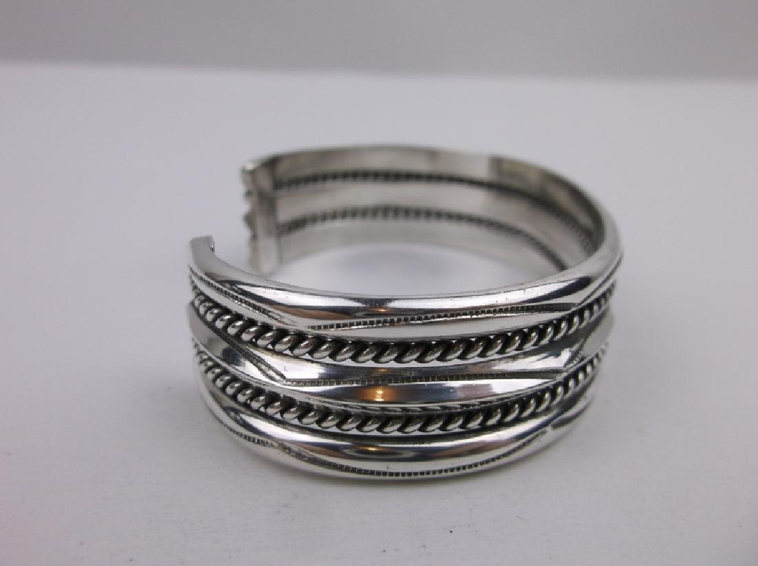 Navajo Sterling Silver Cuff Bracelet Tahe Heavy - 2