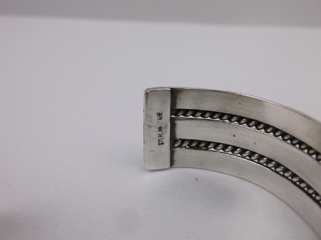 Navajo Sterling Silver Cuff Bracelet Tahe Heavy - 3