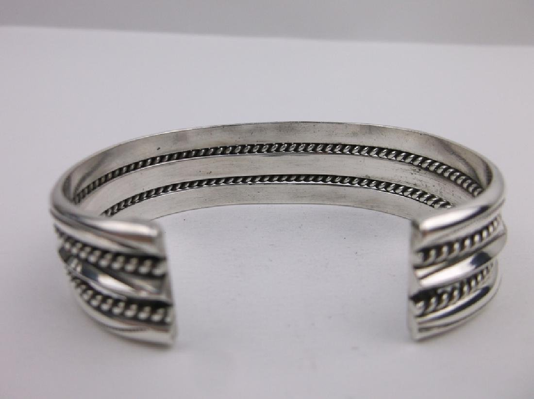 Navajo Sterling Silver Cuff Bracelet Tahe Heavy - 4
