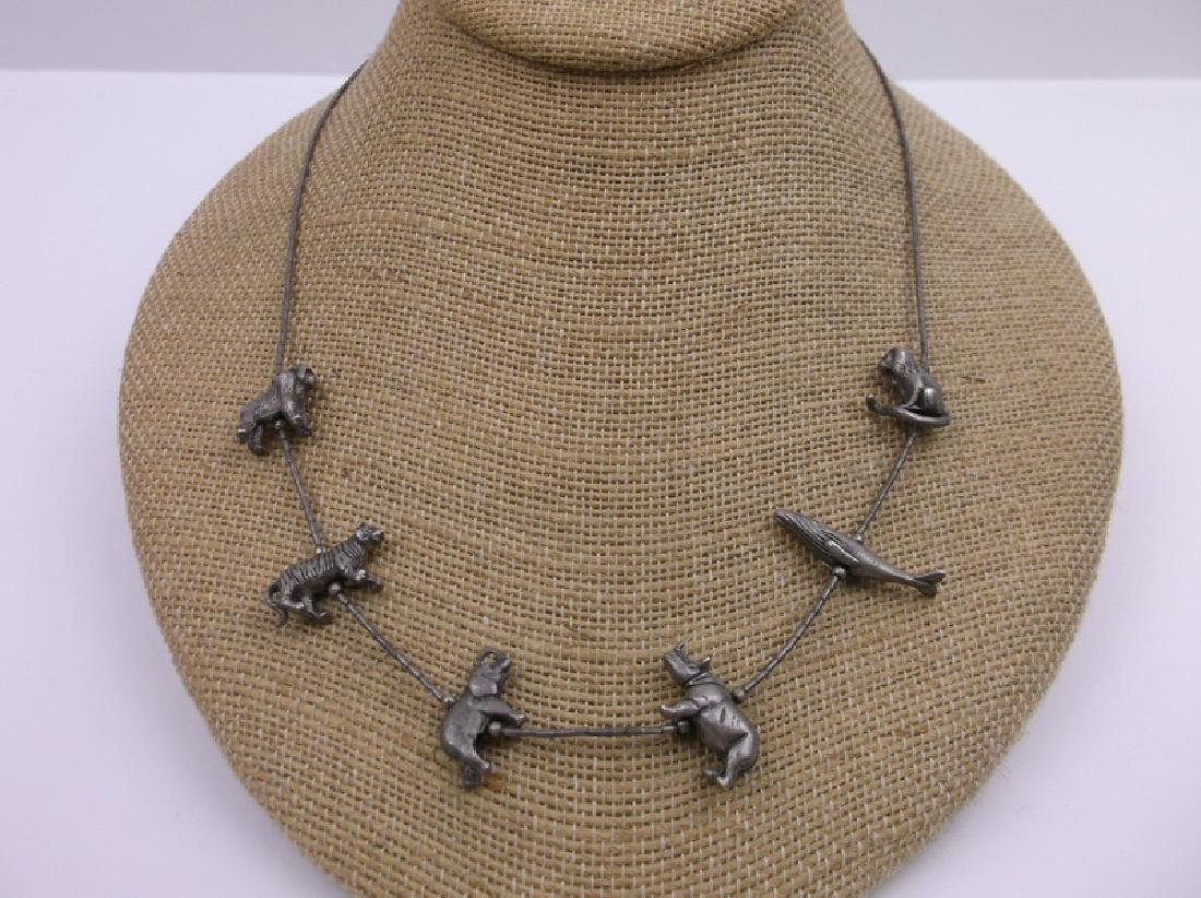 Vint Zuni Sterling Animal Fetish Necklace 18""