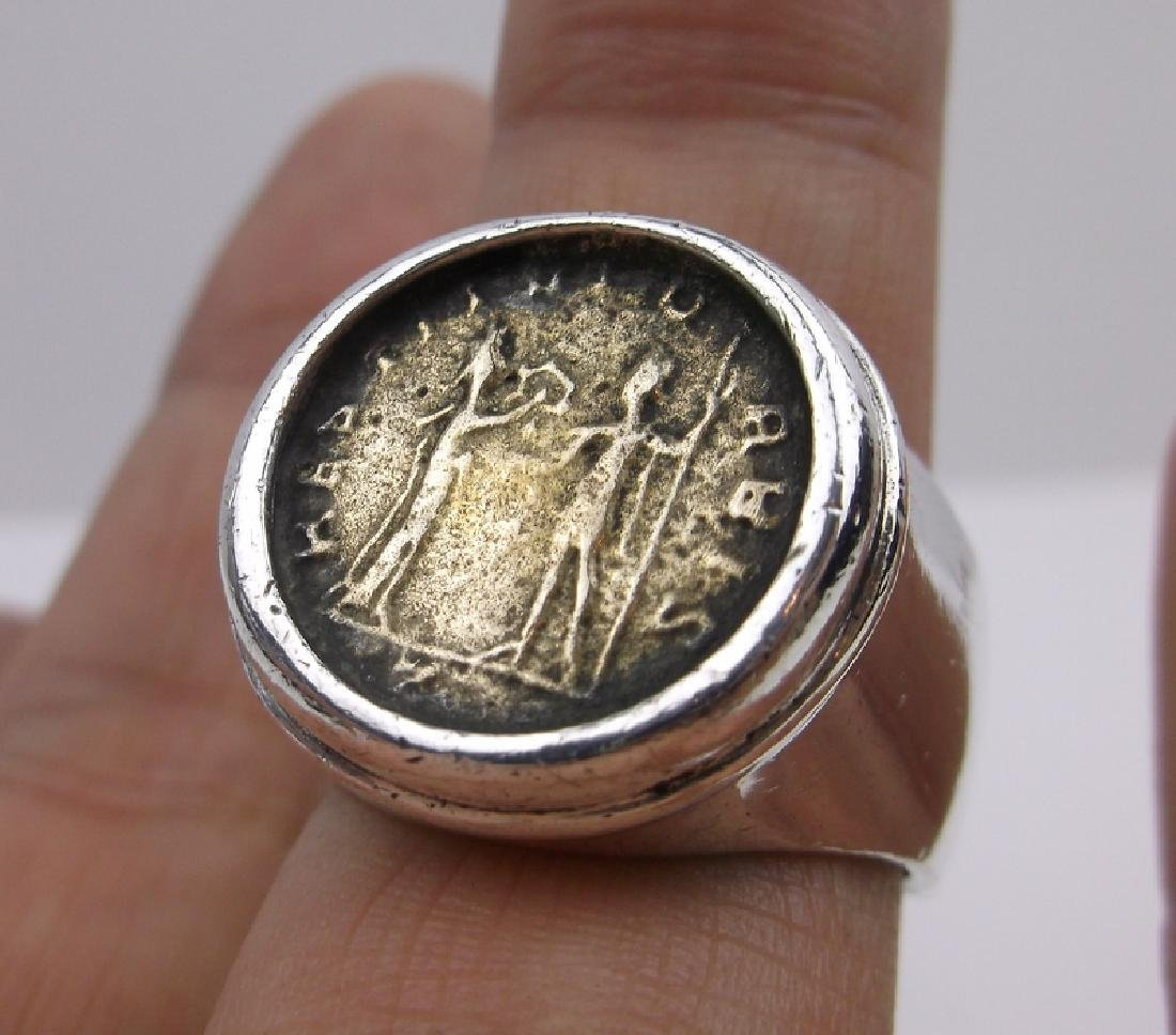 Huge Silpada Sterling Silver Ancient Coin Ring 9