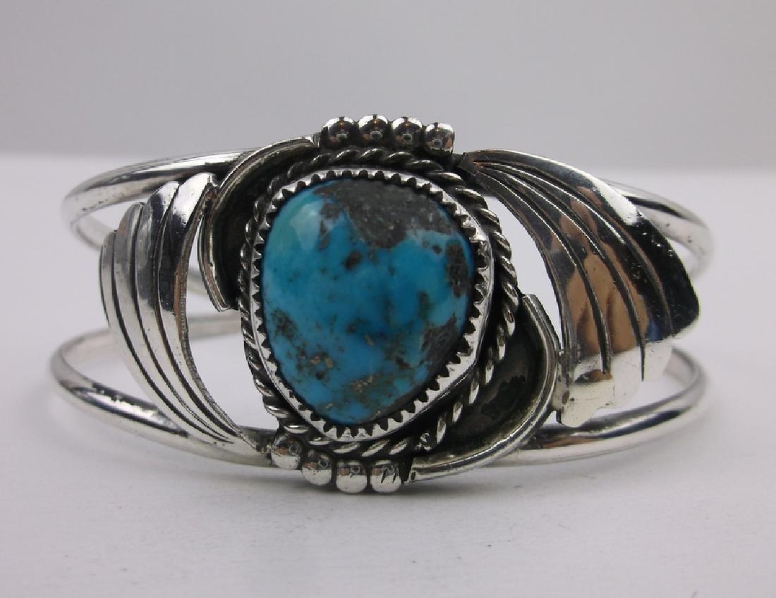 Stunn Large Navajo Sterling Turquoise Cuff Bracelet