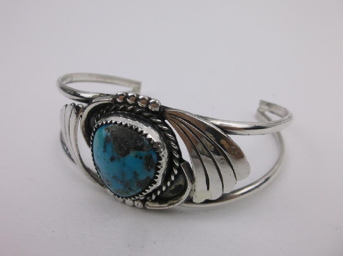 Stunn Large Navajo Sterling Turquoise Cuff Bracelet - 2