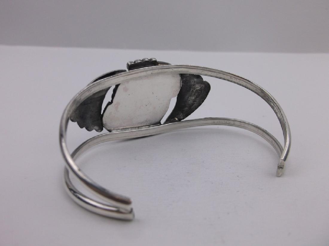 Stunn Large Navajo Sterling Turquoise Cuff Bracelet - 3