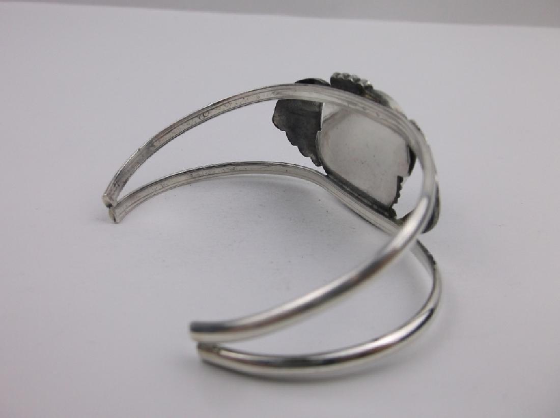 Stunn Large Navajo Sterling Turquoise Cuff Bracelet - 4