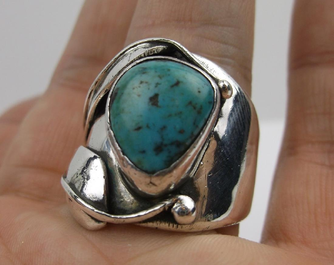 Old Pawn Sterling Turquoise Ring EB 10.5 Navajo