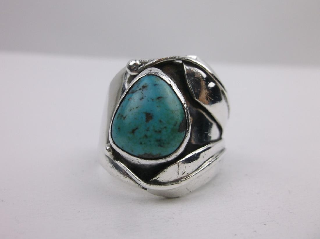 Old Pawn Sterling Turquoise Ring EB 10.5 Navajo - 2