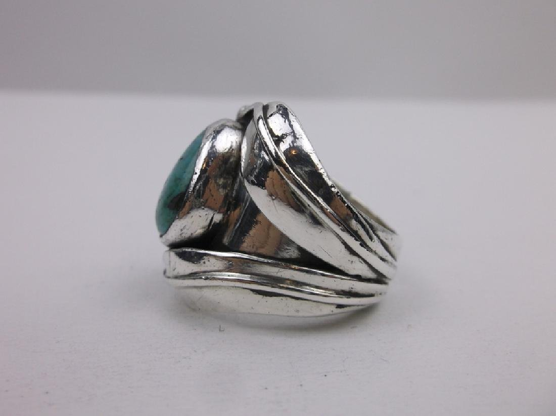 Old Pawn Sterling Turquoise Ring EB 10.5 Navajo - 3