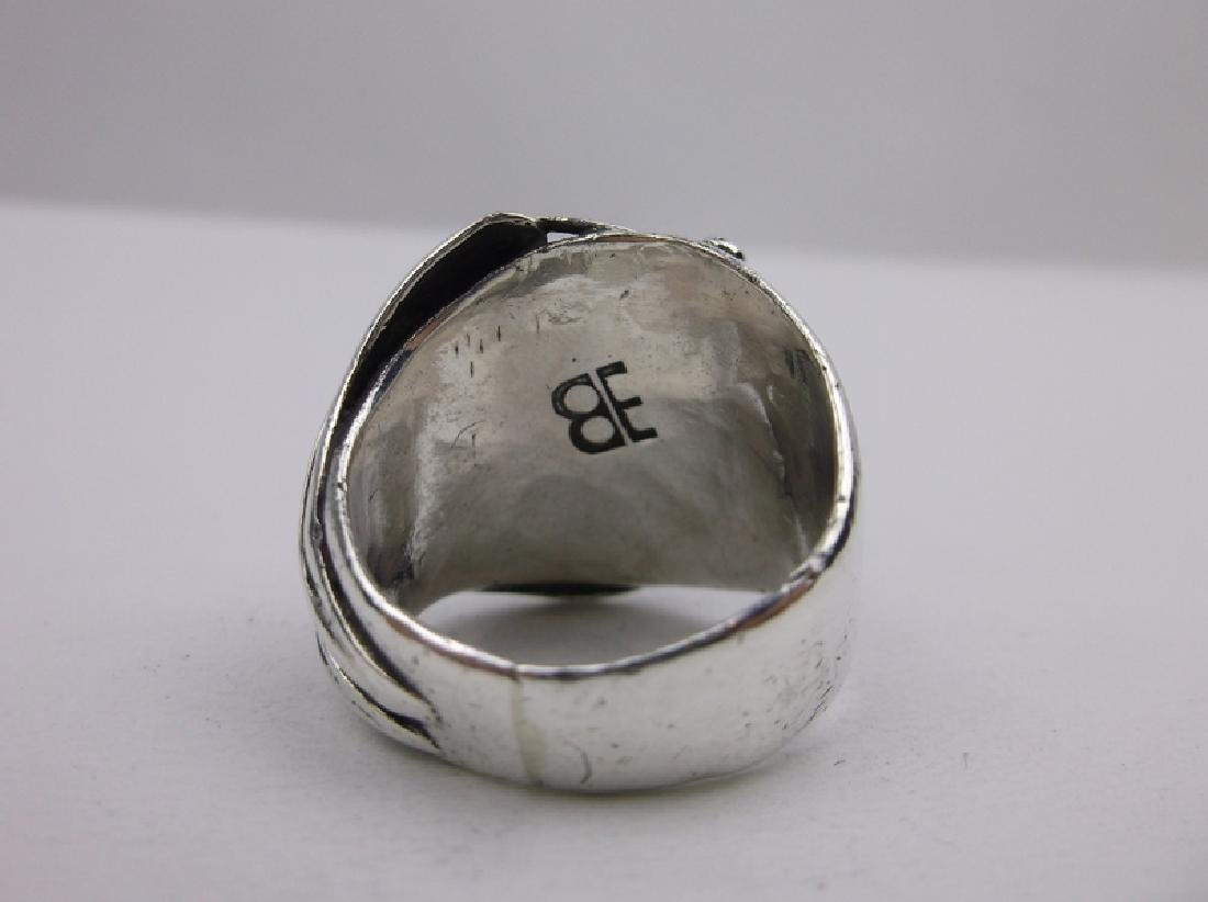 Old Pawn Sterling Turquoise Ring EB 10.5 Navajo - 4