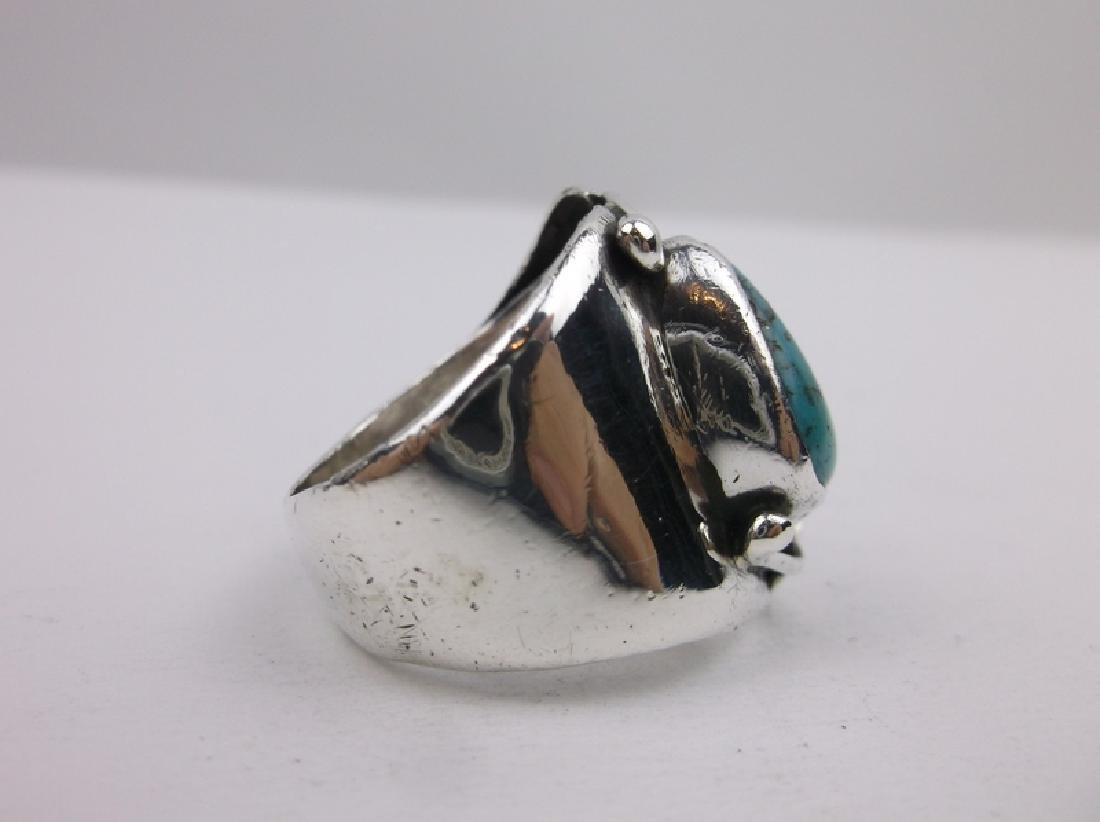Old Pawn Sterling Turquoise Ring EB 10.5 Navajo - 5
