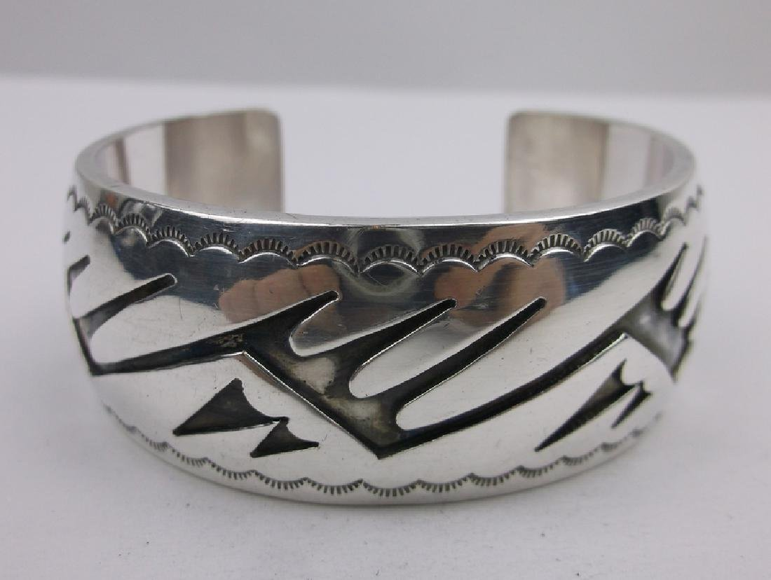 Sup Heavy Navajo Sterling Cuff Bracelet Stunning