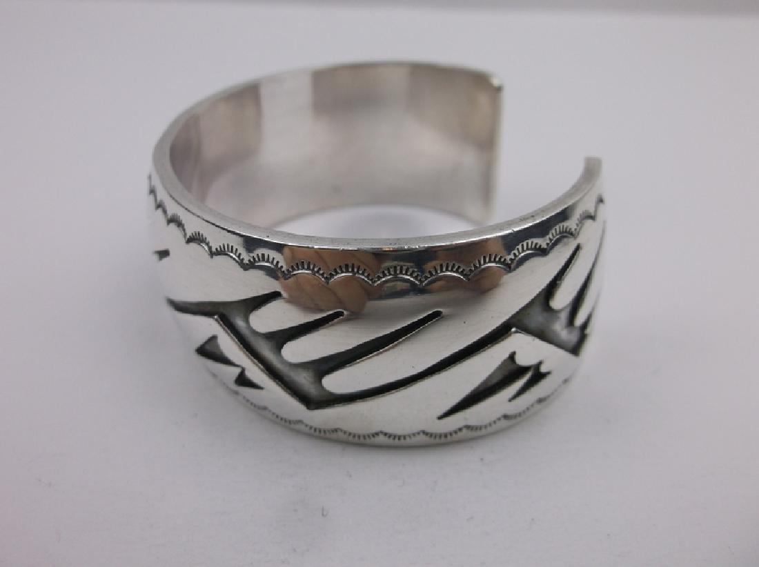 Sup Heavy Hopi Sterling Cuff Bracelet Stunning - 2