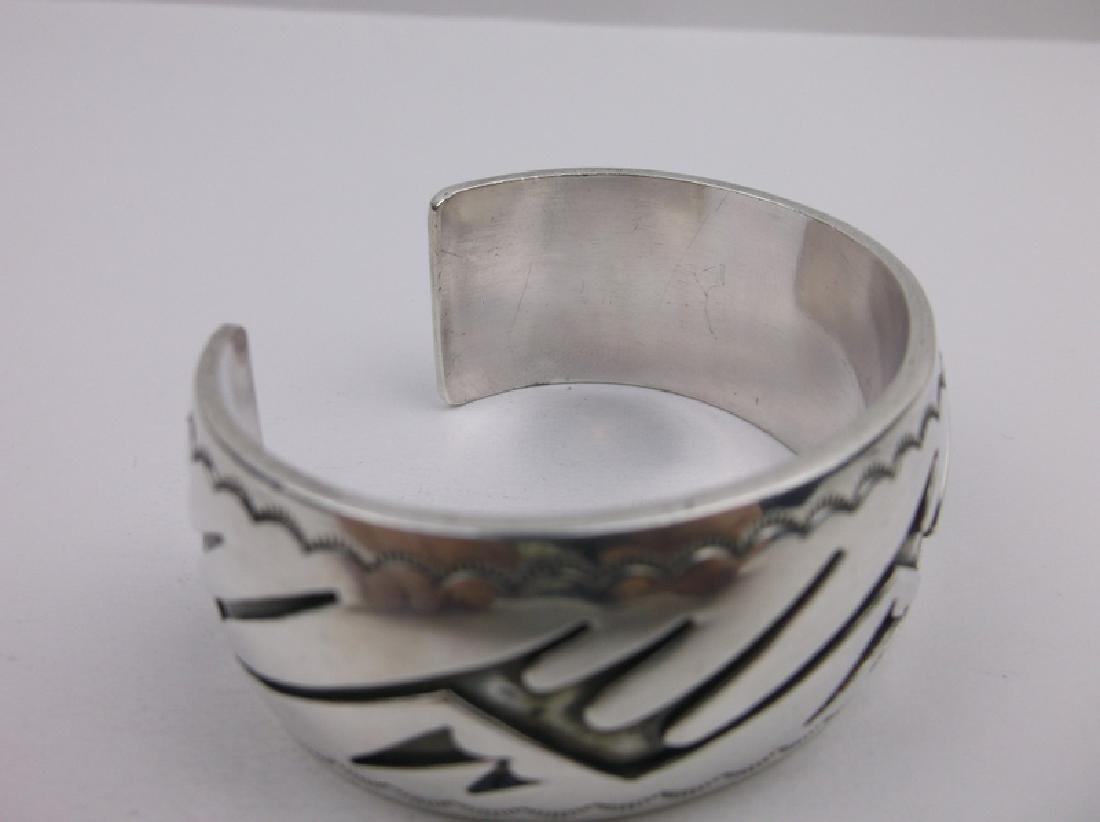 Sup Heavy Hopi Sterling Cuff Bracelet Stunning - 4