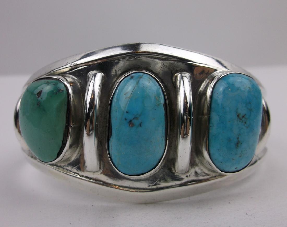 Huge Navajo Sterling Silver Turquoise Cuff Bracelet