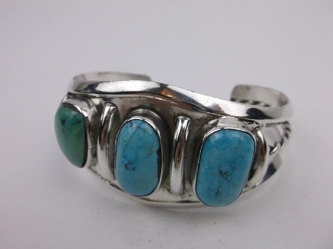 Huge Navajo Sterling Silver Turquoise Cuff Bracelet - 2