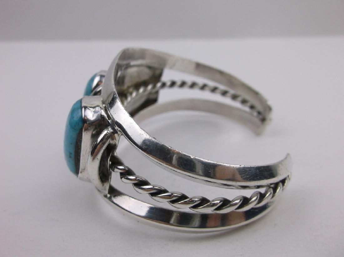 Huge Navajo Sterling Silver Turquoise Cuff Bracelet - 3