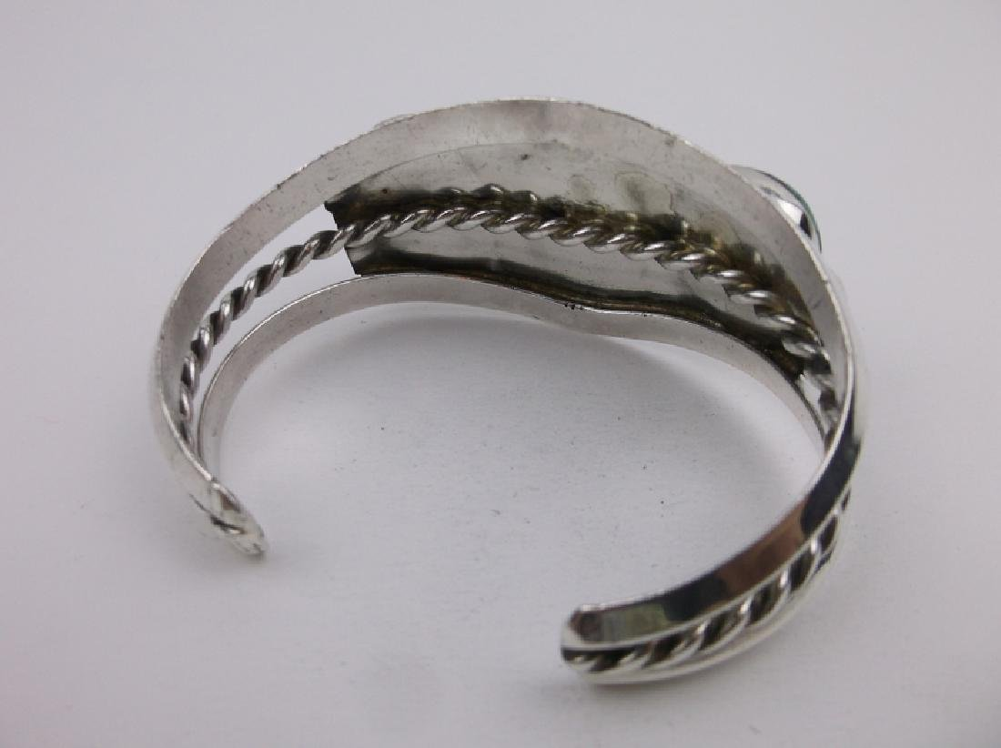 Huge Navajo Sterling Silver Turquoise Cuff Bracelet - 4