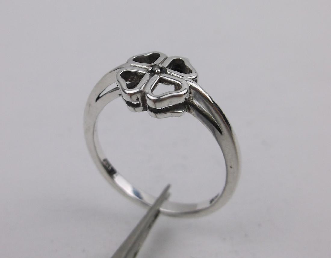 Sterling Silver Genuine Diamond Ring 7 Shamrock