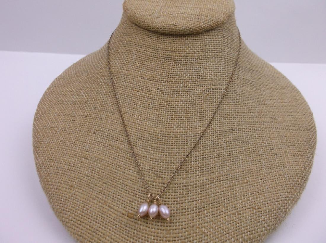 """10kt Gold Pearl Drop Necklace 17"""" Stunning"""