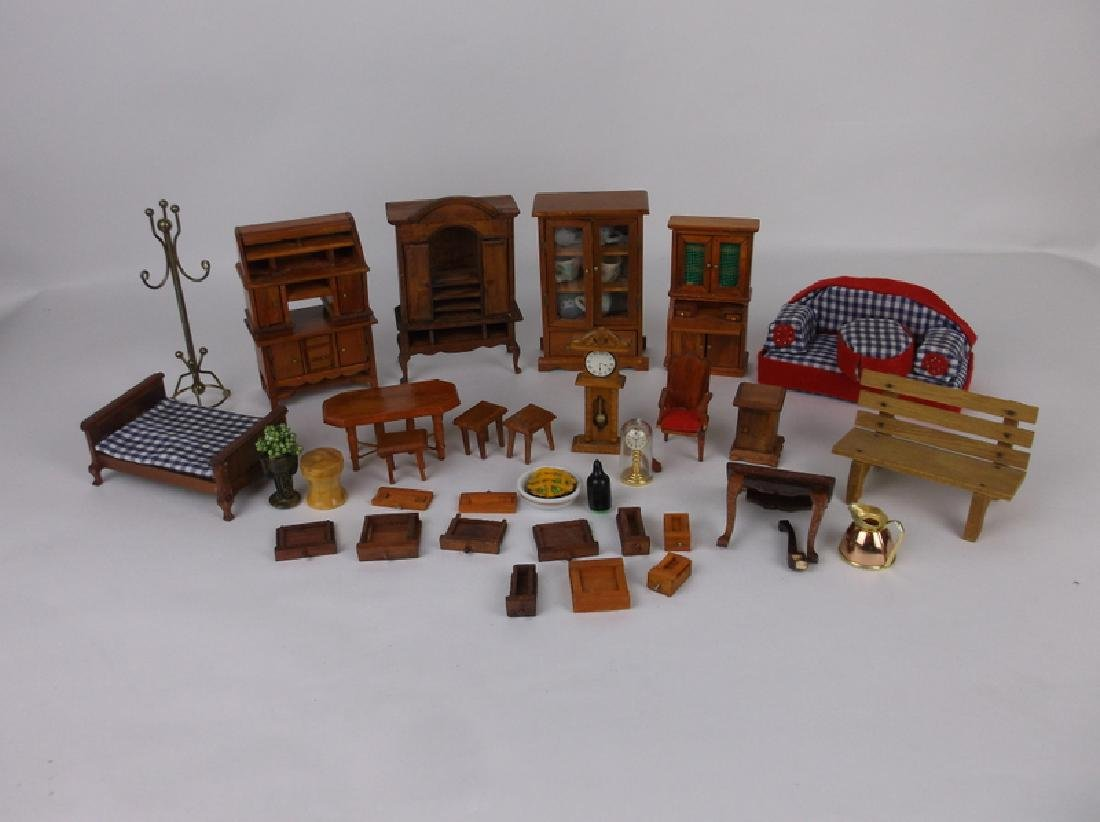 Collection of Estate Wood Doll House Furniture