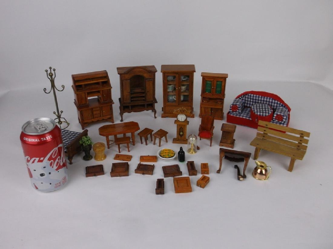Collection of Estate Wood Doll House Furniture - 2