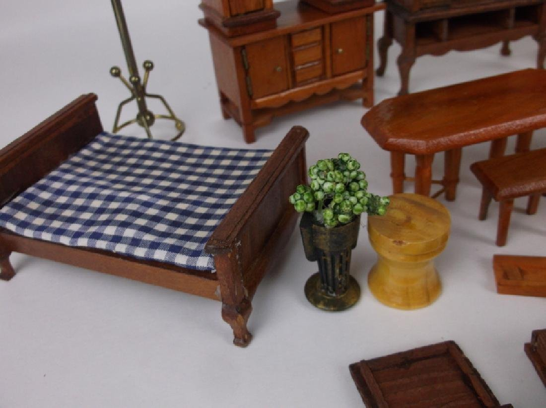 Collection of Estate Wood Doll House Furniture - 7