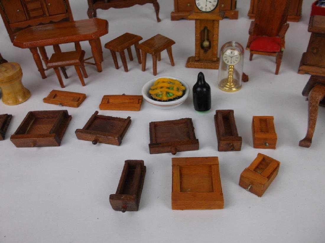 Collection of Estate Wood Doll House Furniture - 8