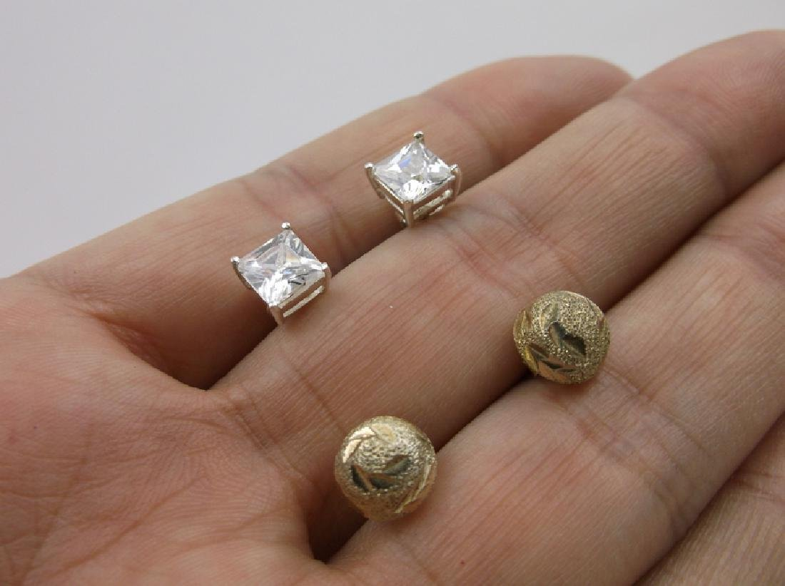 2 Sets Gorgeous Sterling Silver Stud Earrings