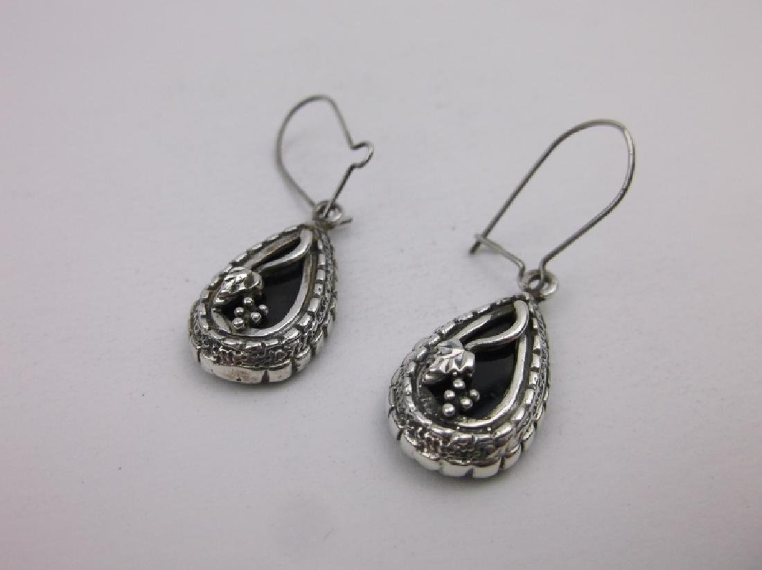 Vint Crouse Co Sterling Silver Onyx Earrings