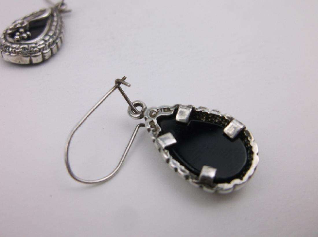 Vint Crouse Co Sterling Silver Onyx Earrings - 2