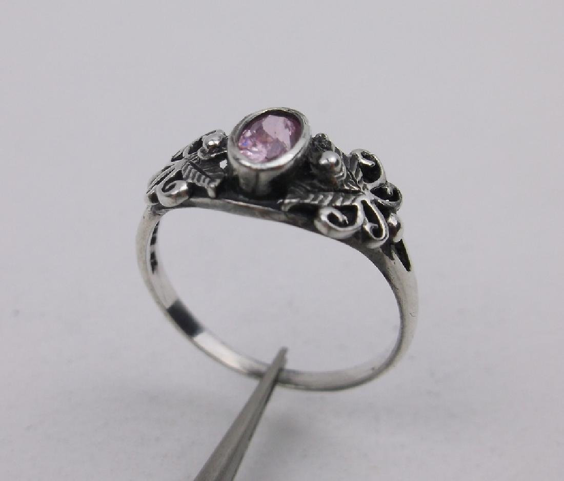 Gorgeous Sterling Silver Pink Stone Ring 5