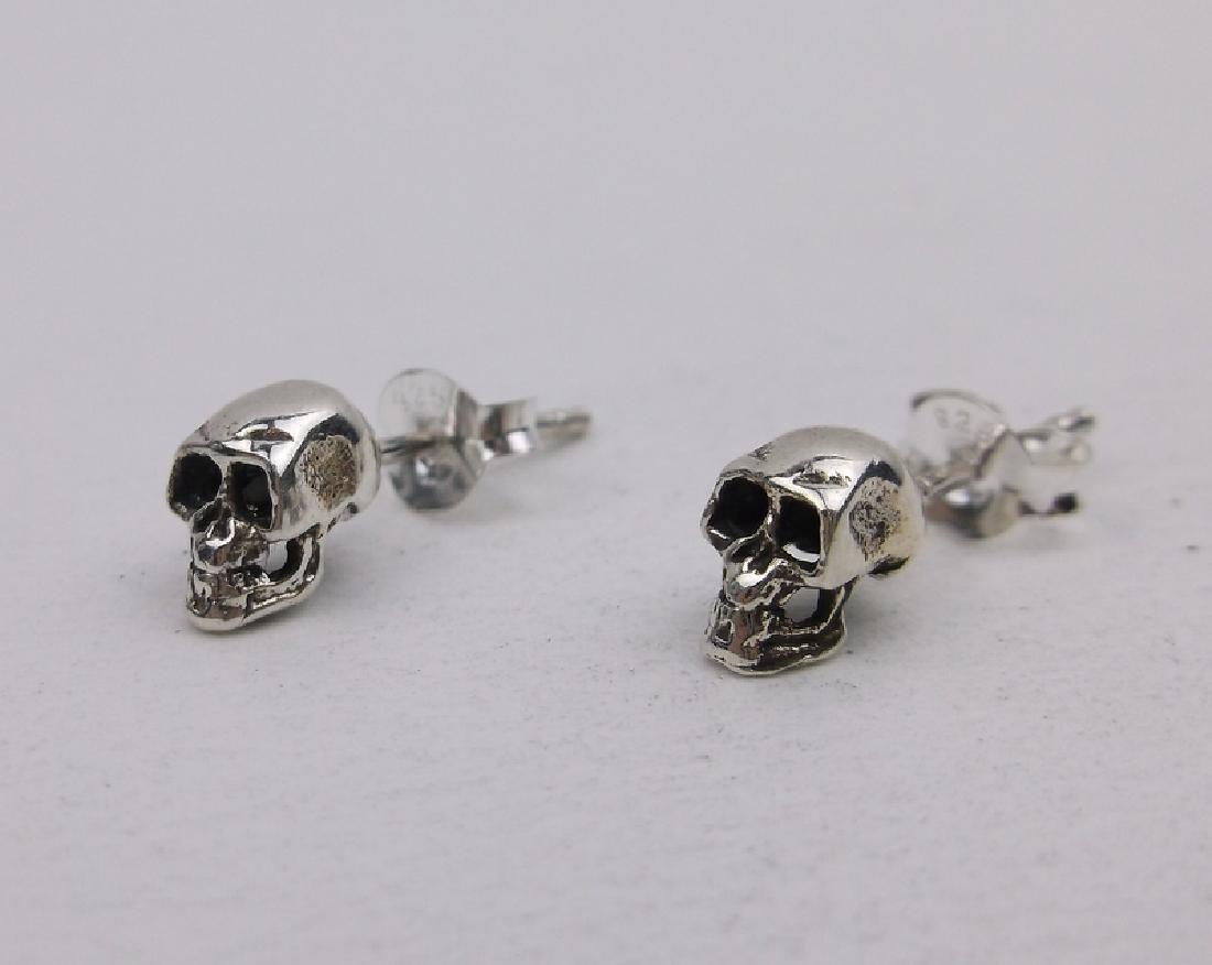 Stunning Sterling Silver Skull Earrings Stud