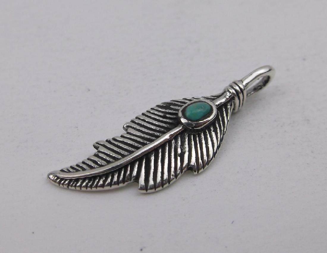 Stunning Sterling Turquoise Feather Pendant